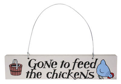 Affichette de porte Gone to Feed the Chickens* - poule bleue