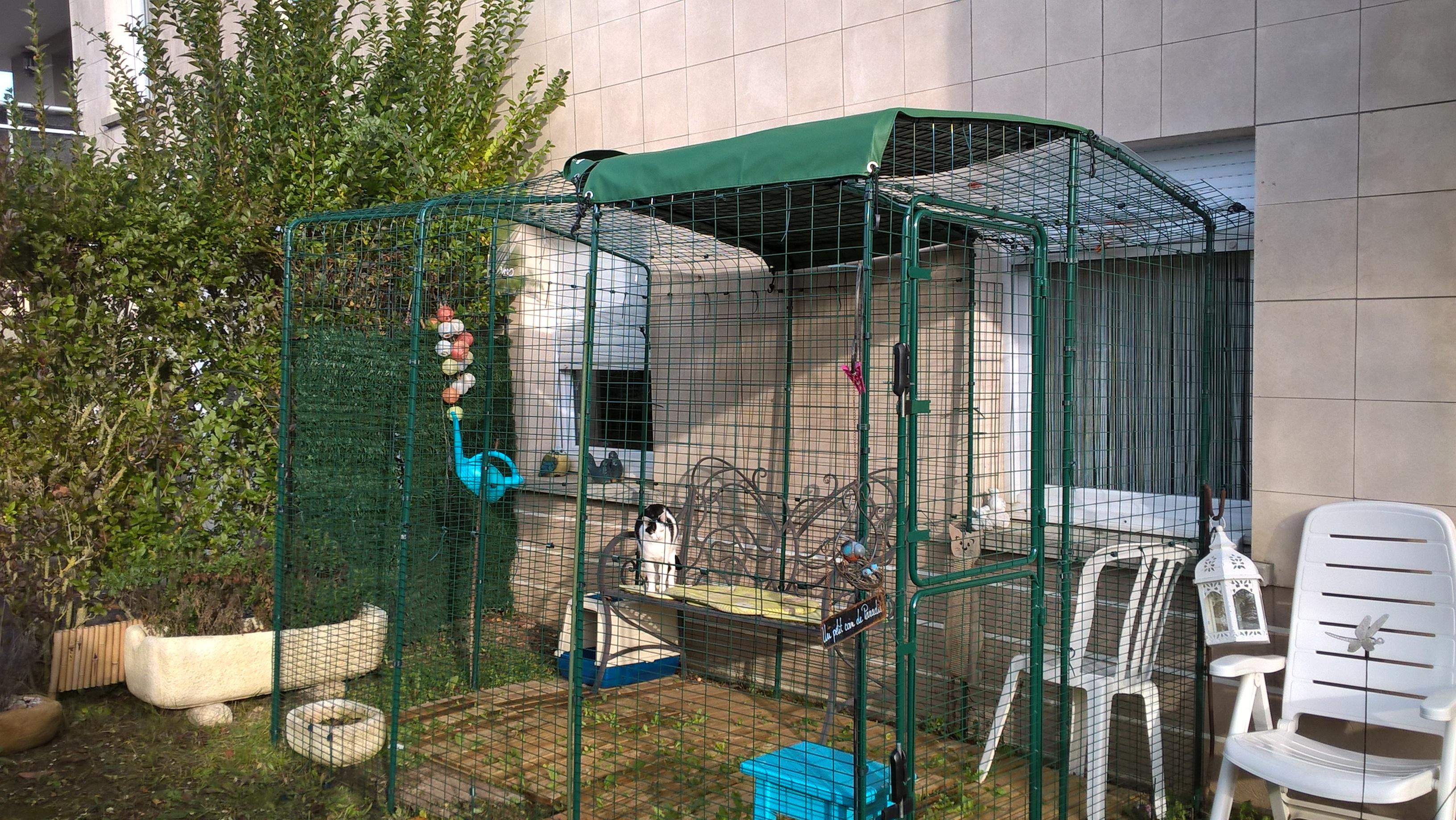 Grand enclos pour chats chats omlet - Solution pour eloigner les chats du jardin ...